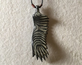 Carved Ash Wing pendant necklace