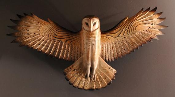Barn Owl Wood Sculpture Wall Art Jason Tennant Etsy