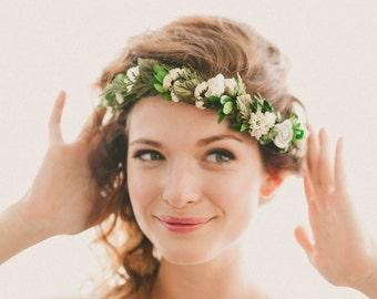 Bridal headpiece, Boho woodland hair wreath, Floral circlet, flower crown, Floral headpiece, Woodland wedding head piece, Greenery