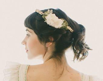 Bridal wax flower crown, Antique-inspired circlet, Bridal head piece, Wedding hair accessory, Ivory flower headpiece, vintage inspired