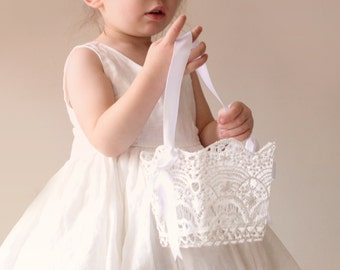 6e53c195ff9a Lace flower girl basket, Flower girl basket white, Stiffened crochet wedding  lace, Classic white basket, Simple bridesmaid basket white