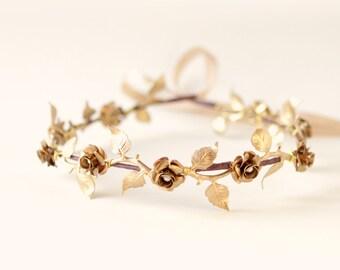 Gold bridal headpiece, Golden flower vine crown, Bridal hair circlet, bridal hair crown, Metal leaf headpiece, wedding circlet, golden crown