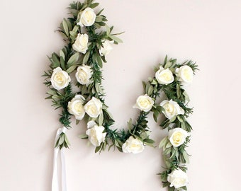 Eucalyptus rose garland, Greenery and rose garland, 6 ft. long, Artificial leaves and flowers, Wedding arch, Ivory roses, Eucalyptus leaf