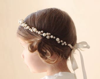 Flower girl crown, Pearl beaded hair crown, Ivory pearl wreath, Hair crown for flower girl, Toddler Photo Prop (12+ months)