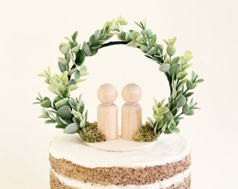 Eucalyptus cake topper, Botanical wedding topper, Simple cake top, wedding cake topper, bride groom, Minimalist wooden people, Faux greenery