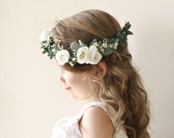 056b6725f Flower girl crown, White flower crown, Greenery floral wreath, Baby's  breath crown, Flower girl accessory, Girl flower wreath, Bridesmaid