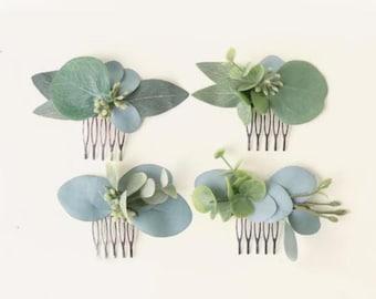 Mini eucalyptus comb, Bridesmaid hair comb, Bridal hair accessory, Greenery hair comb, Eucalyptus hair comb, Small leaf clip, Boho bridal