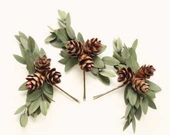 Eucalyptus hair clips, Winter bridal hair, Pine cone pins, Woodland wedding pins, Bobby pin leaf set, Winter rustic wedding, Holiday wedding