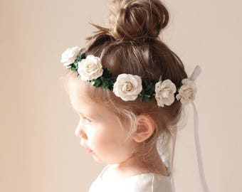 Flower girl hair crown, White or Pink flower wreath, Greenery and white rose, floral wreath, Toddler Photo Prop (12+ months)