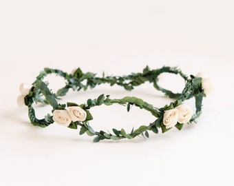 Flower girl hair crown, Ivory OR Pink, flower girl wreath, floral wreath, Toddler Photo Prop, Photography prop, Pink crown (12+ months)