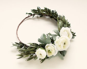 Bridal eucalyptus crown, Preserved greenery, White ranunculus flower crown, Ranunculus and greenery, Dried leaves floral wreath, Boho crown