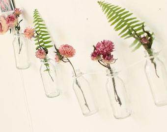 Glass bottle hanging, Bottle garland, Boho wall hanging, Wall bud vase garland, Unique gift for her