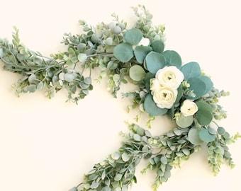 Faux eucalyptus swag, Wedding decor, Welcome sign mini garland, Home mantle decor, White flower swag, Artificial eucalyptus, Greenery