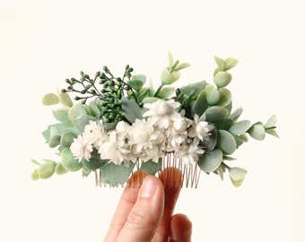 Eucalyptus hair comb, Boho bridal hair, Bridal headpiece, Dried flower and leaves, Greenery hair comb, Bridal eucalyptus hair, Ivory floral