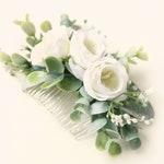 Eucalyptus hair comb, Boho bridal hair, Bridal headpiece, Flower and leaves, Greenery hair comb, Bridal eucalyptus hair, White floral clip