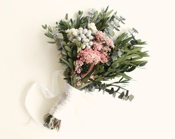 Dried flower bouquet etsy boho bridal bouquet autumn bouquet dried flowers eucalyptus floral bouquet pink and green woodland wedding dried flower bouquet bride mightylinksfo