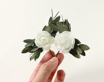 Eucalyptus hair clips, Bridal hair pins, woodland wedding pins, Bobby pin set, Woodland leaf clips, White flower pins, Eucalyptus headpiece