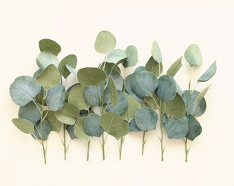 Artificial eucalyptus, Woodland wedding decor, Greenery branches, Silk leaves, DIY wedding decor, Flower crown, Floral supply, Silver dollar