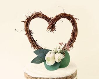 Rustic heart cake topper, Rustic wedding, Simple woodland cake top, Grapevine heart, Simple cake top, wedding cake topper, Heart cake topper