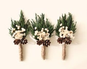Wedding boutonniere, Winter wedding, groomsmen buttonhole, Woodland rustic boutonniere, Holiday Wedding, Rustic bout, Green leaf boutonniere