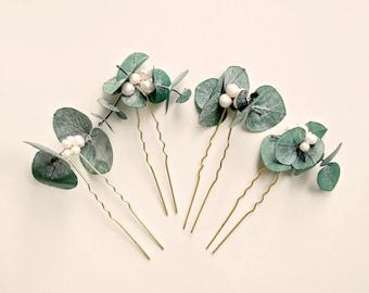 Eucalyptus pearl hair pins, Real eucalyptus bridal hair, Boho bridal pin set, Greenery hair pin, Eucalyptus pearl pin set, Dried leaves hair