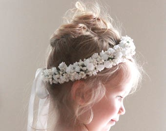 Flower girl crown, White or Ivory flower girl crown, rose floral wreath, Toddler Photo Prop, Photography, Flower girl headband - 12+ months