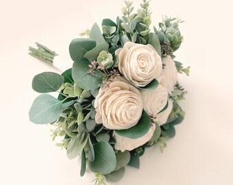 Sola flower bouquet, Bridal bouquet, Artificial greenery, Eucalyptus bridal bouquet, Artificial eucalyptus bouquet, Ivory boho bouquet