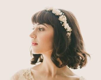 White flower crown, Cherry blossom floral wreath, Boho wedding headpiece, Flower bridal hair accessory, White floral, Boho crown for bride