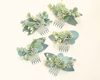 Wedding hair pin for bridesmaids hair piece Bridal bobby pin Succulent hair accessory Floral hair clip succulent theme gift succulent favor