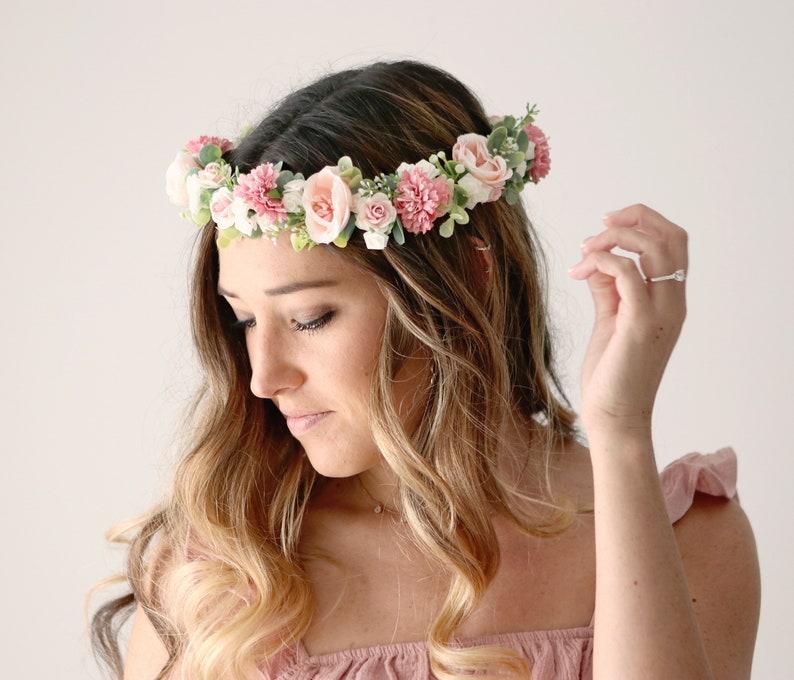Blush flower crown Pink bridal hair wreath Boho wedding image 0