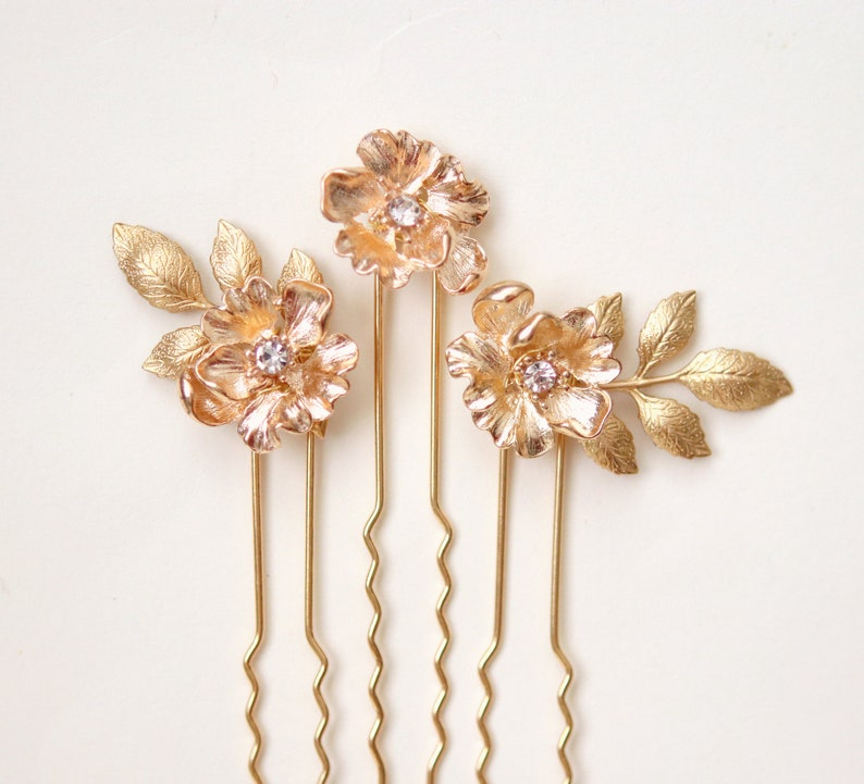 Gold flower bridal hair pins Gold rhinestone bridal hair image 0
