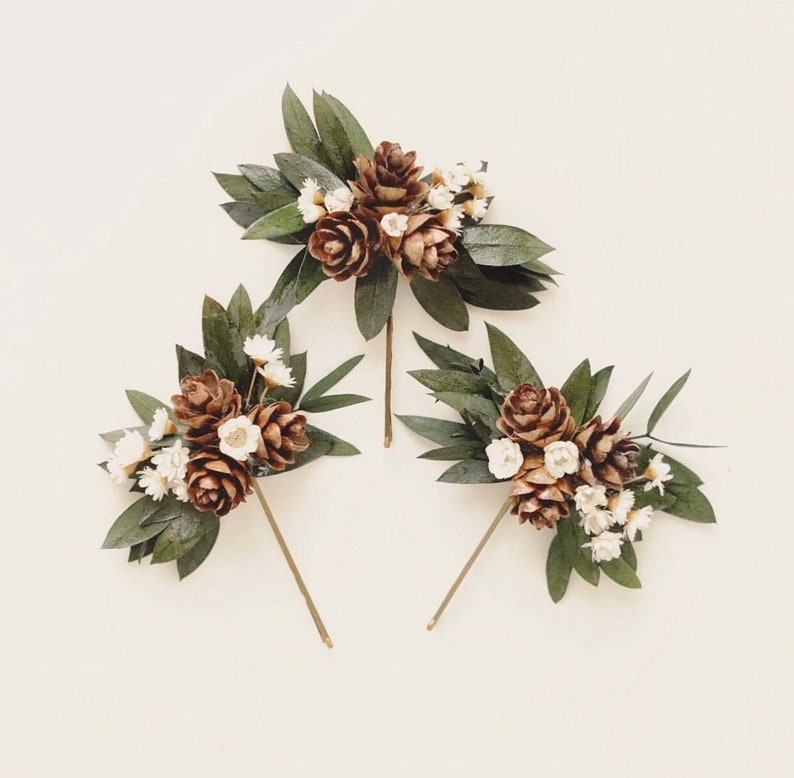 Winter bridal hair pins Eucalyptus and pine cones Dried image 0