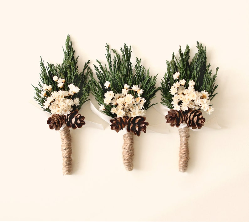 Wedding boutonniere Winter wedding groomsmen buttonhole image 0