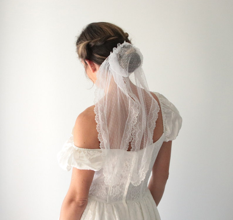 Lace hair bun Bridal bun cover Unique wedding hair Boho image 0