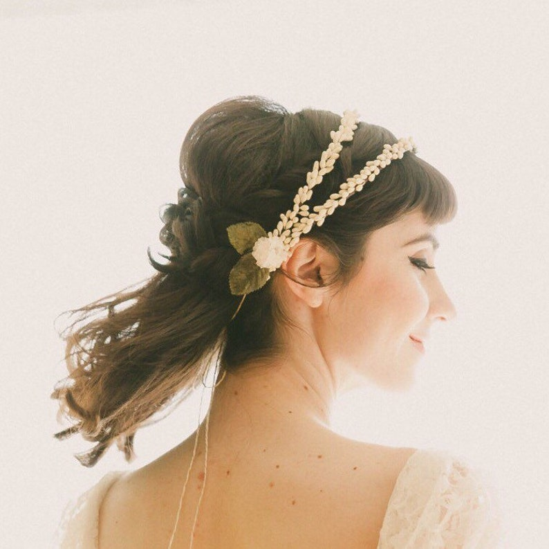 Double bridal head piece Wedding hair accessory Vintage image 0