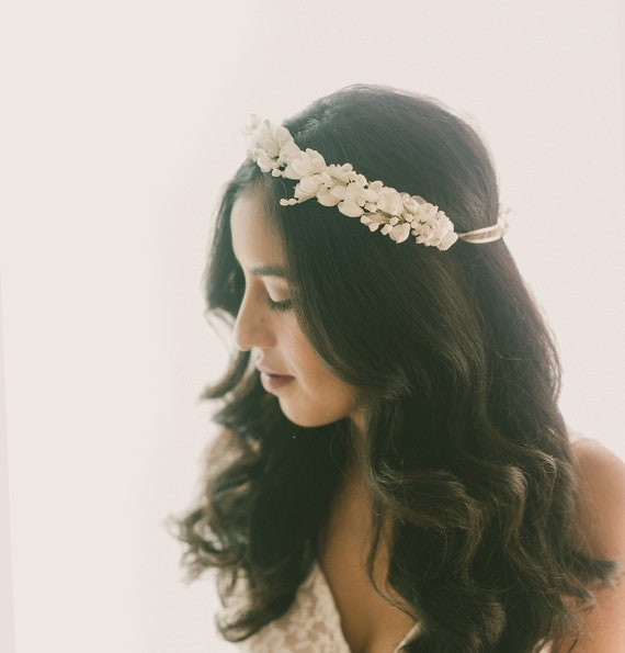 White flower headpiece Vintage flower crown Bridal white  459b511b4d2