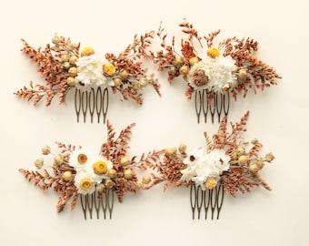 Dried flower comb (1) Autumn wedding headpiece, Fall flower comb, Rustic wedding, Bridesmaid hair flowers, Dried floral, Eucalyptus rust
