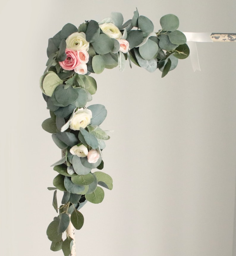 Eucalyptus floral swag Small flower garland Eucalyptus swag image 0
