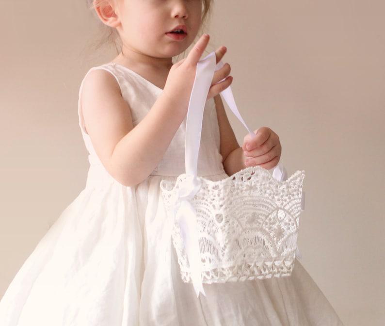 Lace flower girl basket Flower girl basket white Stiffened image 0