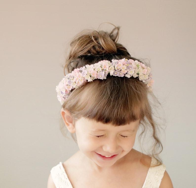 Flower girl headband Flower girl headpiece Pastel image 0