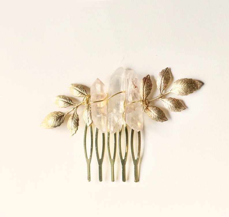 Crystal leaf comb GOLD or SILVER Small comb leaves Boho crystal hair pin Crystal bridal Wedding hair Mini hair comb Bridal hair comb