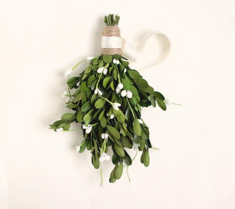 Artificial mistletoe bunch Farmhouse Christmas decor Holiday image 0