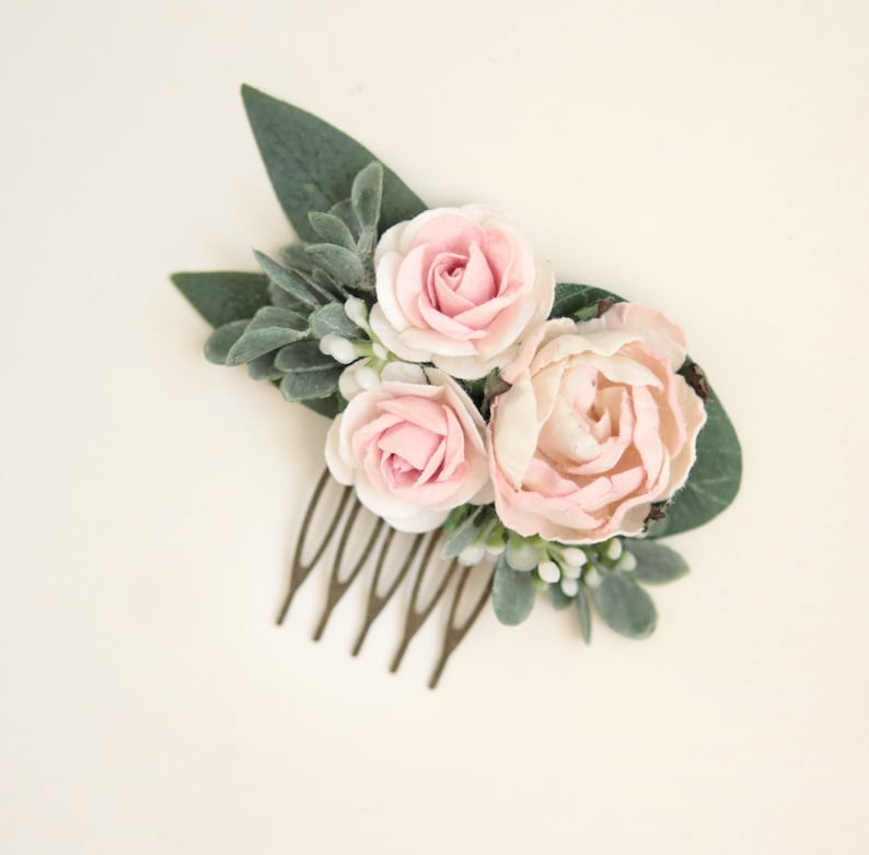 Blush pink flower comb Hair comb wedding Floral hair comb image 0