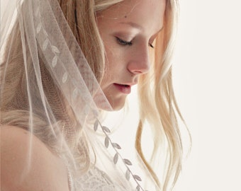 Shimmer tulle bridal veil, White wedding veil, White fingertip veil, Leaf ribbon trim veil, Single tier veil, Floor length, chapel cathedral