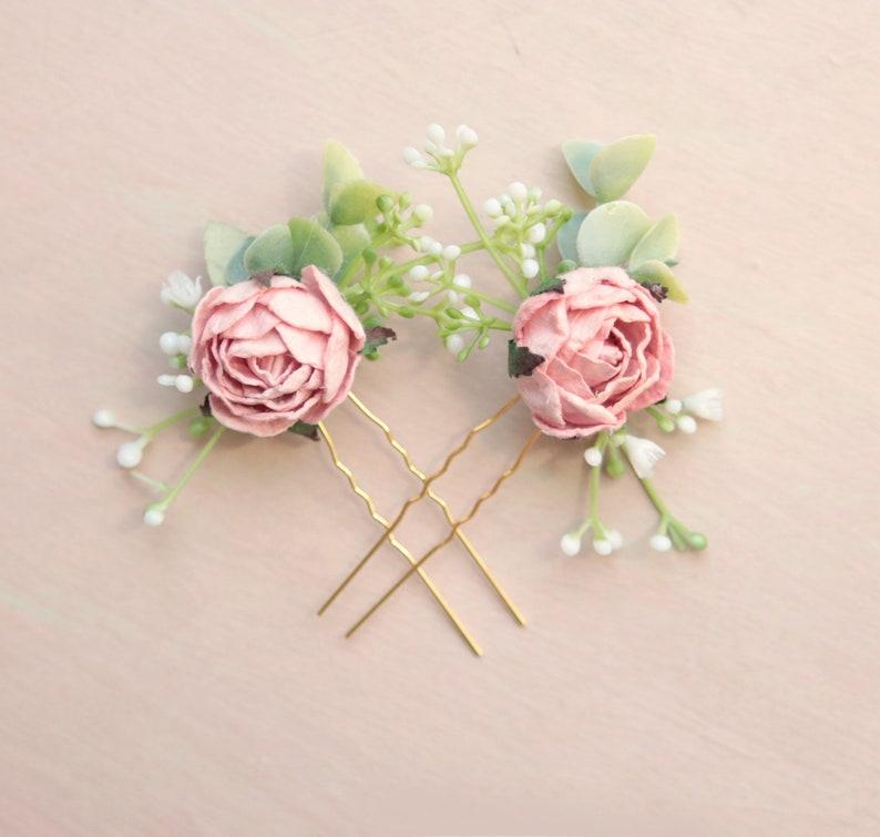 Pink peony hair pins Small bridal flowers Boho bobby pin image 0