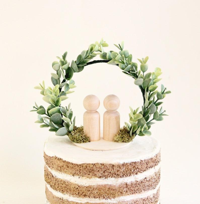 Eucalyptus cake topper Botanical wedding topper Simple cake image 0