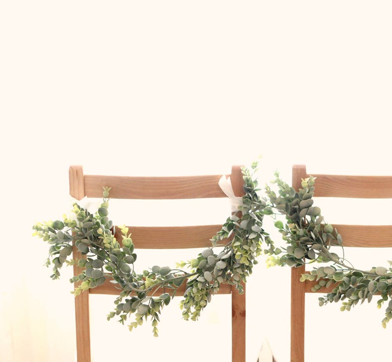 Eucalyptus Chair Swag Set Faux Greenery Wedding Chair Swag Etsy