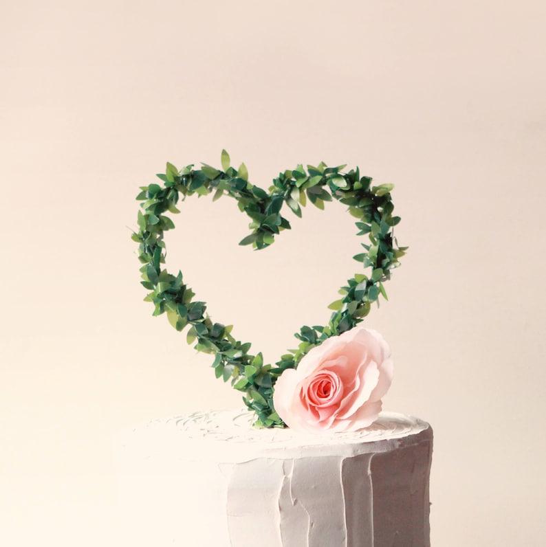 Leaf heart cake topper Rustic wedding Woodland cake top image 0