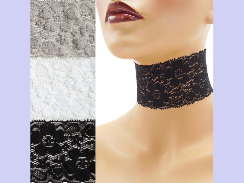 Extra Wide Stretch Lace Choker 2  2.25 inches Black White or image 0
