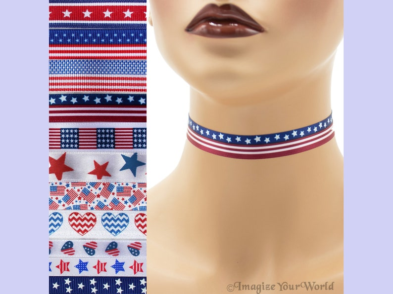 Custom PATRIOTIC Choker 5/8 inch Independence Day Necklace USA image 0